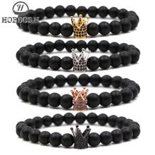 HOBBORN Classic 8mm Black Natural Stone Women Bracelet Handmade Crystal Crown Beaded Men Female Yoga Pulseras Mujer