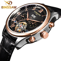 BINSSAW Mens Watch Luxury Top Brand Fashion Leather Sports Men Automatic Mechanical Watches Male Wristwatches relogio masculino