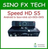 Tüketici Elektroniği'ten Set Üskü Kutuları'de Hız hd s5 Amlogic S805 android uydu sks iks kalıcı ücretsiz güney amerika için nagra 3