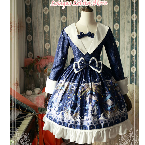 City of Star ~ Sweet Printed Long Sleeve Lolita Dress by Magic Tea Party