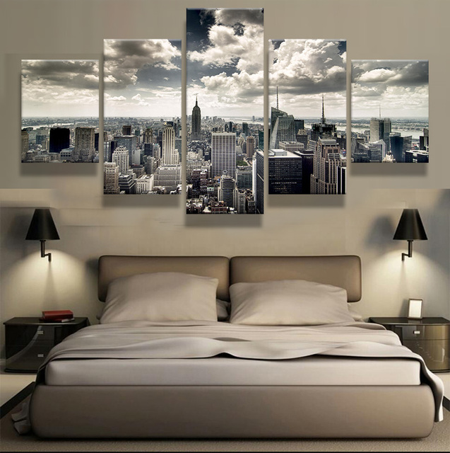 Framed)5 Pieces New York City Building Wall Art Picture Home ...