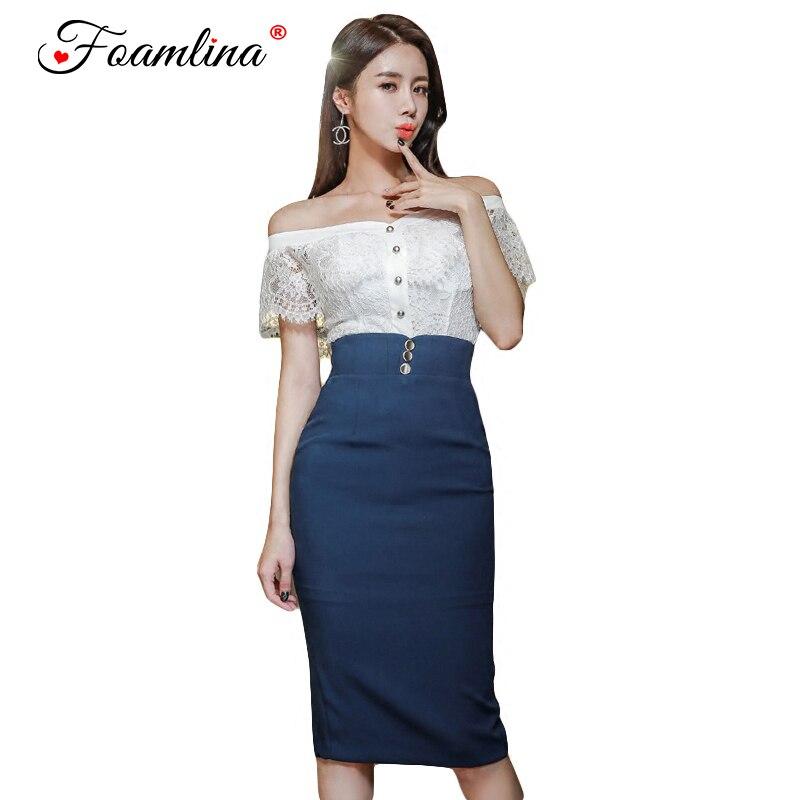 Foanlina Elegant Ladies Office Work Two Pieces Sets Sexy Off Shoulder Lace Crop Top + Empire Pencil Skirt Suits Women 2 pcs Sets