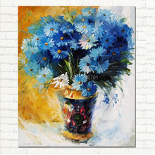 Top quality Handpainted Blue Flowers PALETTE KNIFE Still Life Modern Wall Art Textured Oil Painting On Canvas