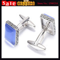 Vintage Silver Plated Carve Flower Pattern Opal Cufflinks Men's Wedding Party Gift Shirt Blue Square Crystal Faux Gem Cuff Link