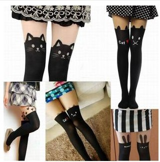 Kawaii Cute Cartoon K-pop Animal Mock Knee High Tattoo Tights Stockings