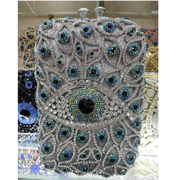 Newest Big Crystal Evening Bag Fit Into iphone Samsung Women Clutch Bag Large Wedding Party Purse