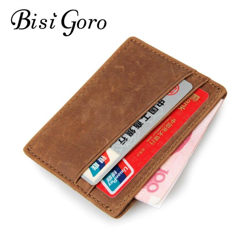 Bisi Goro 2018 Männer Echtes Leder Vintage Mini Kreditkarte Halter Geldbörse Karte Fall Männer Rindsleder Leder Berühmte Kleinen Kurzen geldbörse