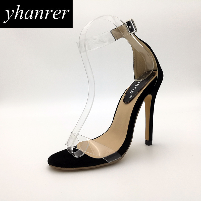 New Women Transparent High Heels Summer Crystal Sandals Thin Heel Pumps Buckle Strap Stilettos Lady Shoes Heeled 11cm Y114 xiaying smile summer new woman sandals platform women pumps buckle strap high square heel fashion casual flock lady women shoes