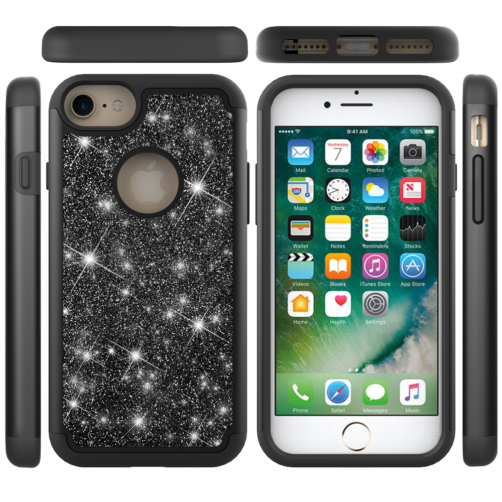 Shockproof Fashion Glitter Skin Case For iPhone 6 6s 7 8 Protective Hybrid PC+TPU Back Cover Case For iPhone X XS  Glitter Case