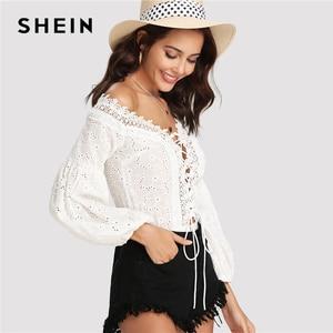 Image 5 - ملابس نسائية صيفية مطرزة برقبة واسعة ورقبة واسعة من الدانتيل من SHEIN موضة 2018