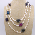 Natural pearl necklace handcrafted druzy with multi color agate stone necklace gems for women New style 849