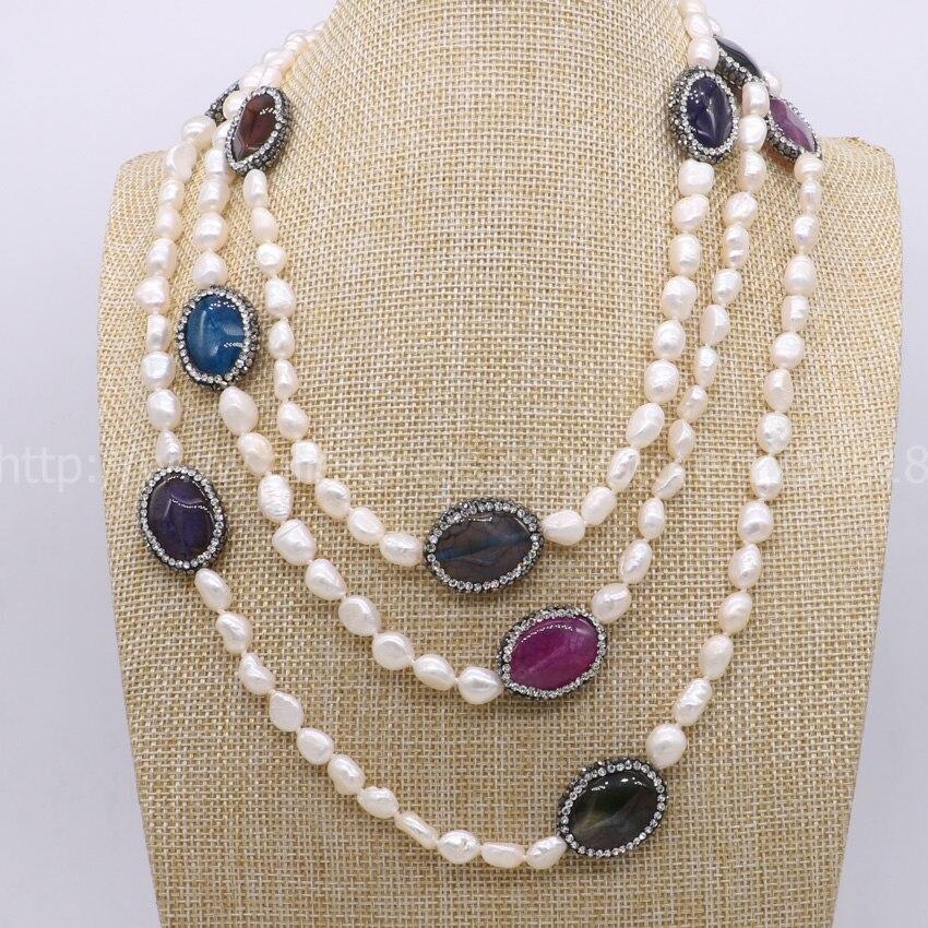 Přírodní perlový náhrdelník ručně vyráběný druzy s vícebarevnými drahokamy s náhrdelníky z drahých kamenů pro ženy Nový styl 849