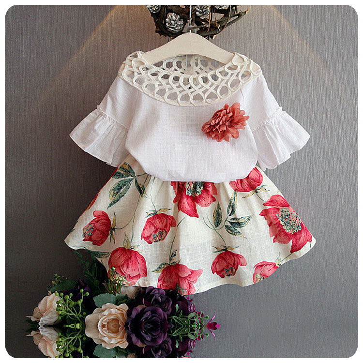 BibiCola Cotton Fashion Baby Girl Clothing Sets Floral white short sleeve t shirt tops + Tutu ...