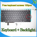 "Brand New Small Enter RS Russian keyboard+Backlight Backlit+100pcs keyboard screws For MacBook Pro 17.1"" A1297 2009-2012 Years"