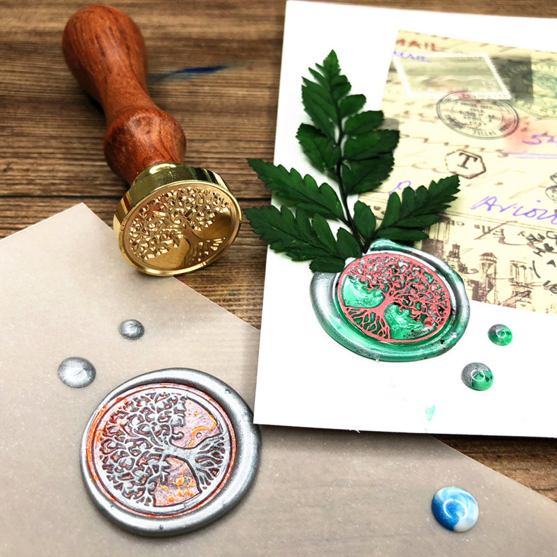 Whism Br Head Sealing Stamp Wood Handle Wax Wedding Invitation Seal Christmas Stamps For Sbooking