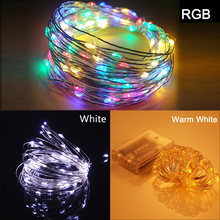 LED String light Silver Wire Fairy warm white Garland Home Christmas Wedding Party Decoration Powered by Battery batter USB 10m(China)