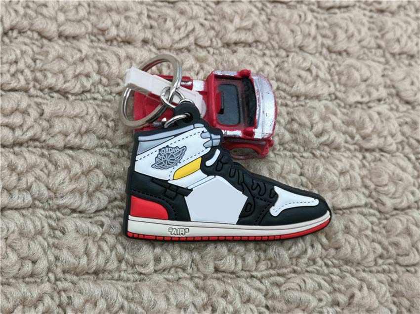 Chegada nova Mini Silicone Bonito 1 AJ Sapatos Mulher Bolsa Charme Para Homens Crianças Presentes Chave Anel Keychain Acessórios de Tênis corrente chave
