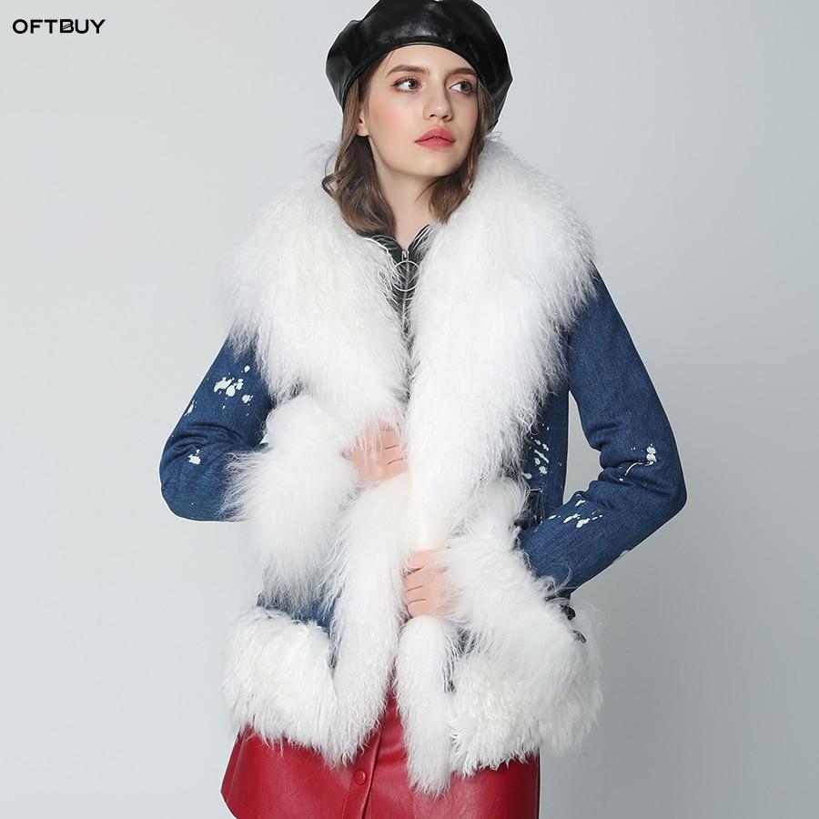 OFTBUY 2019 Winter Jacket Women Real Fur Coat Parka Real Mongolia Sheep Fur Denim jacket Warm Outerwear Streetwear ins fashion