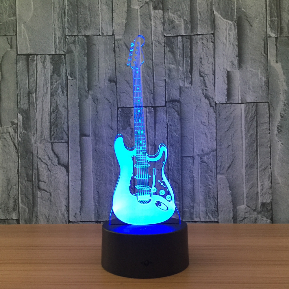 Creative 3D Light Electric Guitar Model Illusion 3D Lamp LED 7 Color Changing USB Touch Sensor Desk Light Night Light GX412 color changing dolphin shape 3d visual led night light
