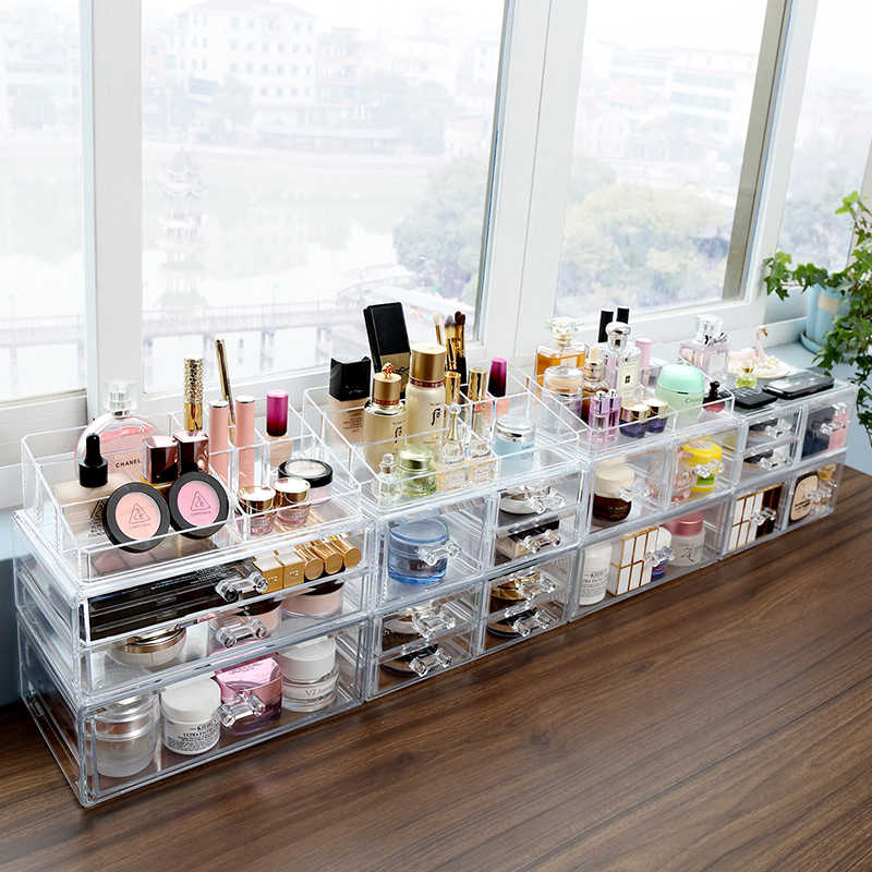 M large makeup bottle drawer storage box high quality plastic acrylic cosmetic makeup drawer storage organizer box C227-3