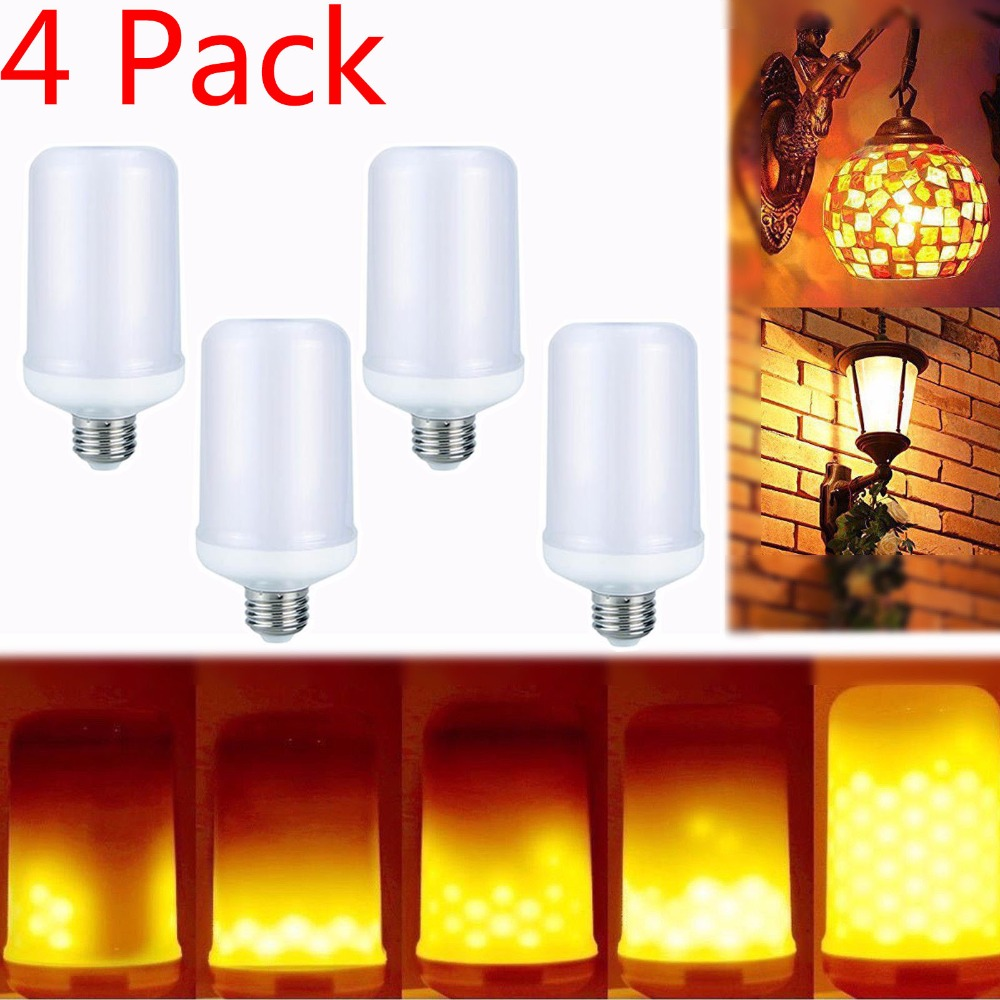 LEDMO Four bags together E14 2835SMD LED lamp Flame Effect Fire Light Bulbs 7W Flickering Emulation flame Lights AC 85-265V
