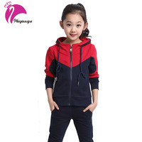 Girls Sports Sets 2016 Patchwork Cotton Long Sleeve Suits Fashion Sets Spring Autumn Kids Tracksuits Children