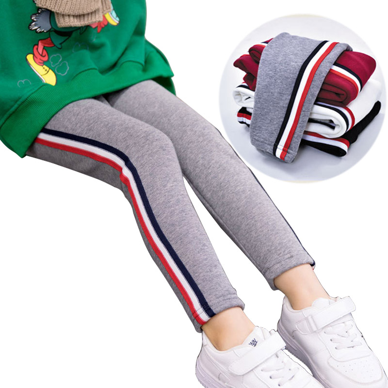цены на Winter Girls Leggings fur Thicken Warm Girl Pants Kids Pants Elastic Waist Leggin plus velvet trousers sports Baby pants 3-10Y