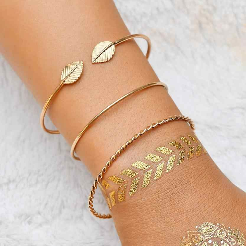 Fabulous 3pcs Women Bracelets Stainless Steel Screw Hand Leaf Wedding Wristband Cuff Bracelet Open Bangle Jewelry Wristlet
