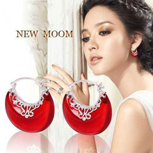 Gagafeel Новая мода Оптовая Подлинная 100% реального Чистая стерлингового серебра 925 Роскошные новолуние серьги-капли для женщин