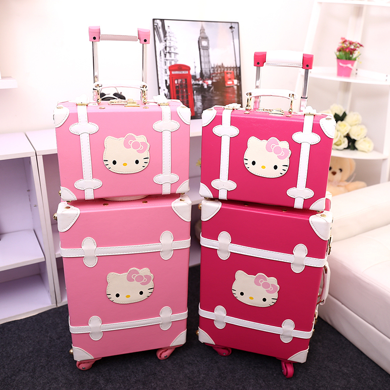 Women Vintage Trolley Luggage Travel Bag Hello Kitty Luggage Universal  Wheels Luggage Sets Travel Suitcase 20