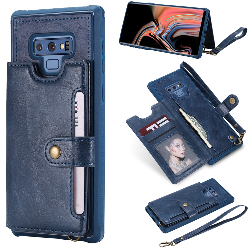 Note 9 Leather Case for Samsung Galaxy Note 8 PU Leather Cover for Samsung s8 S9 Plus Flip Back Case with Handcord Card Insert