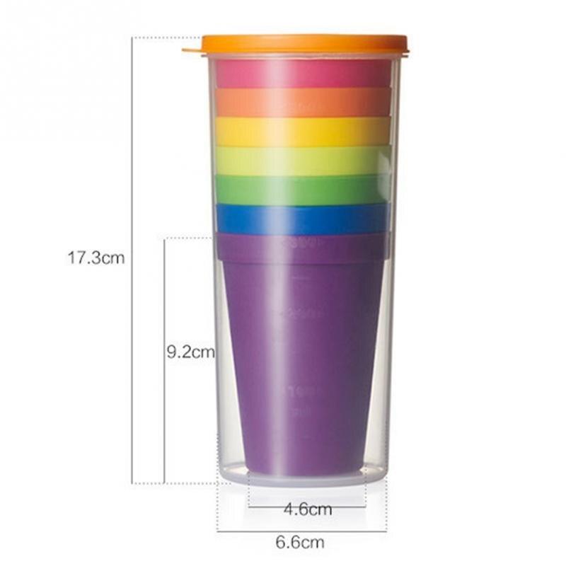 7 pz/set Bicchieri di Plastica Arcobaleno di Colore Portatile di Picnic Turismo Tazza di Caffè Tazza di Acqua Per Uso Domestico Utensili Da Cucina