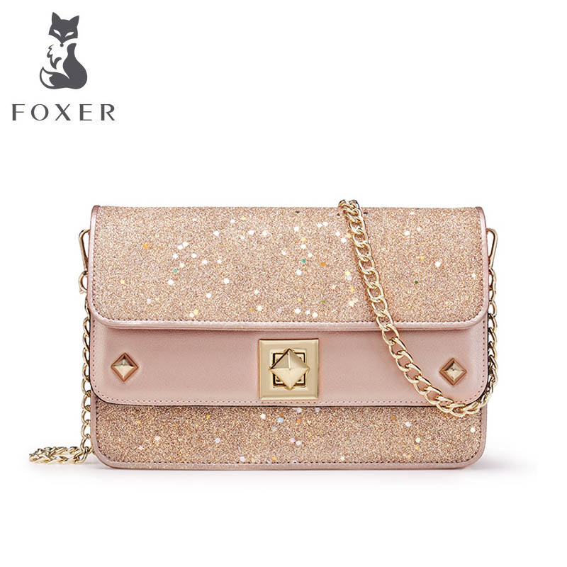 FOXER 2018 New quality luxury handbags women bags designer fashion Chain small bag women leather Shoulder Crossbody bags new fashion women leather handbags 2017 luxury designer patchwork shoulder bags small crossbody bag with chain for women girls