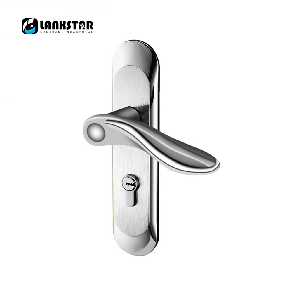 New Style 304 Stainless Steel Interior Wooden Door Handle-Lock 50mm Pitch Row Living Room Doors Anti Insert Lockset Handle Lock europe standard 304 stainless steel interior door lock small 50size bedroom big 50size anti shelf strength handle lock