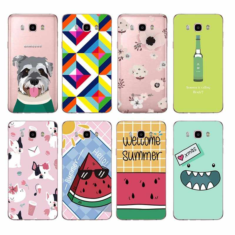 Cartoon dog watermelon Lovely Flower soft TPU Phone Case For Samsung A5 J3 J5 J7 J1 J2 S6 S7 S8 S8plus note8 c5 c7 c9 S9 C201