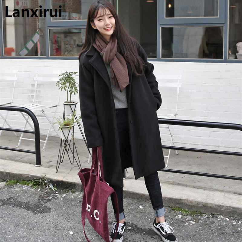 Winter Women Casual Coat Fashion Female Pockets Jackets Large Size Long Woolen Womens Outerwear Females Overcoat Korean Style Wool Blends Aliexpress