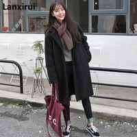 Inverno feminino casaco casual moda feminina bolsos jaquetas tamanho grande longo womens outerwear feminino casaco estilo coreano