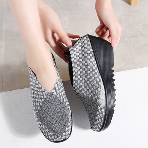 Image 3 - 2019 Autumn Women Platform Sneakers Womens Casual Flats Elastic Shoes Loafers Woven Shoes Thick Heel Slip on Shoes Woman 866