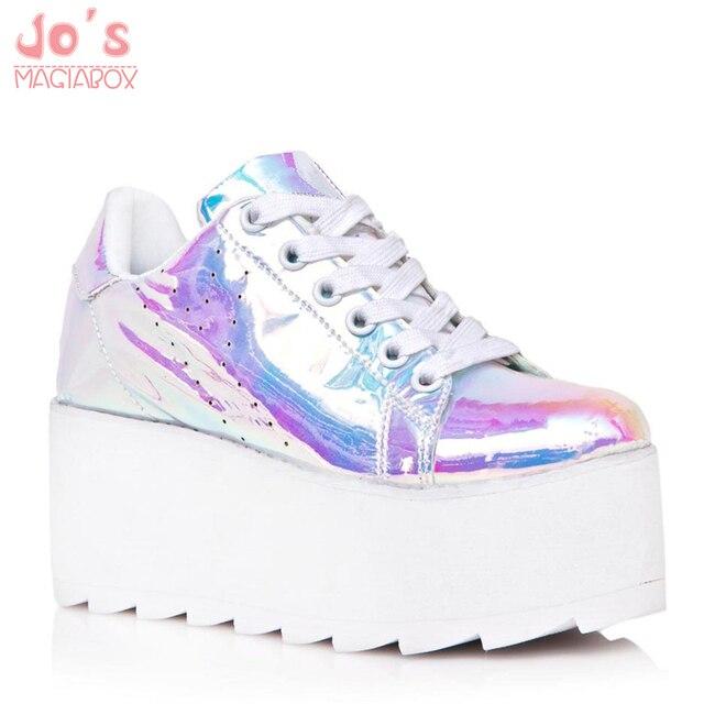 9ab39d229e6 US $49.58 35% OFF Laser Platform Shoes Women Kawaii Lace Up Super Hight  Shoes Harajuku Spring Autumn Vogue Laser Casual Flats Ladies Shoes-in  Women's ...
