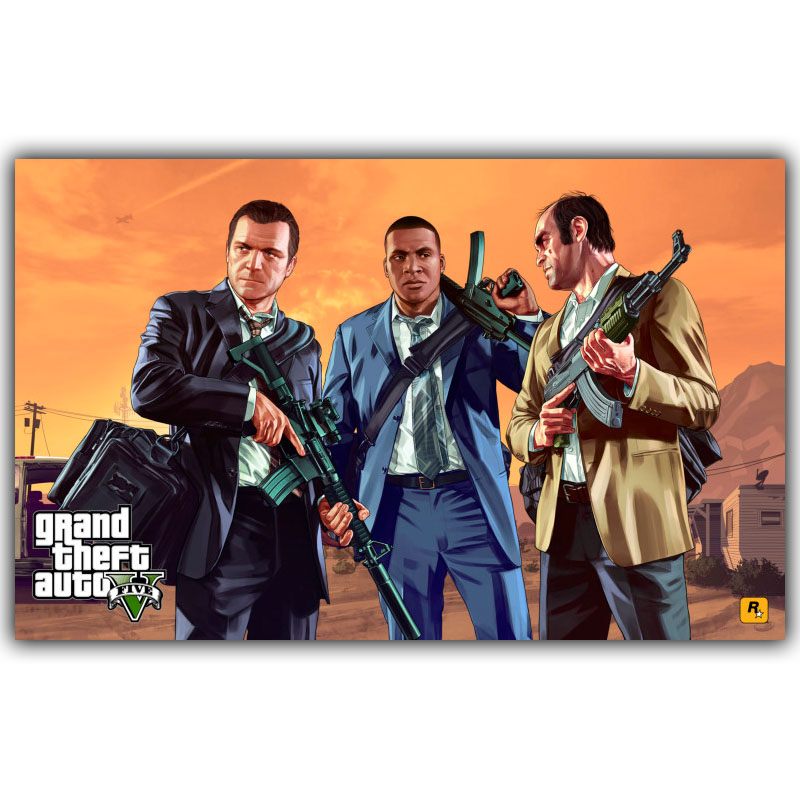 Grand Theft Auto V GTA 5 Game Art Silk Poster Print 30x48cm 60x96cm Game Wall Pictures for Living Room Decor ...