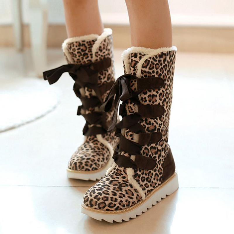 Snow Boots Platform Women Shoes Leopard Blue Pink Lace Up Mid Calf Boots Fashion Ladies Plush Winter Boots Footwear Plus Size 43 cocoafoal women s fashion black height lncreasing snow boots winter platform plus size snow boots green gray mid calf snow boots