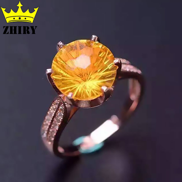 Women Natural citrine 925 sterling silver rings Fireworks cut stone ring Lady gem jewelry 10*10mm