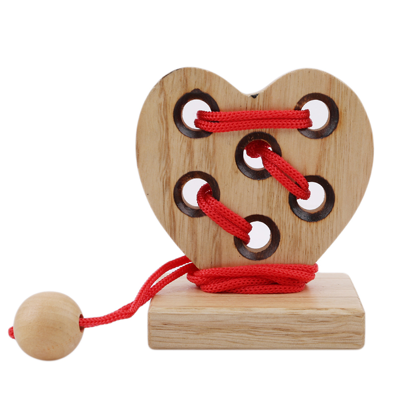 Heart Shape 3D Wooden Rope Puzzle IQ Brain Teaser String Puzzles Game Toy Kid Early Education Wood Rope Puzzle Toys