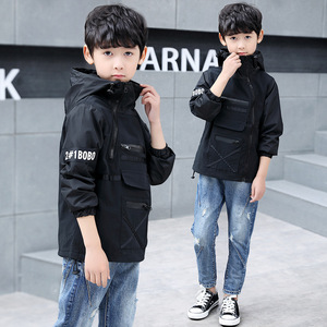 Image 5 - Children outerwear teenager trench coats boys coats and jackets letter printed boys hooded Windproof kids jacket windbreaker
