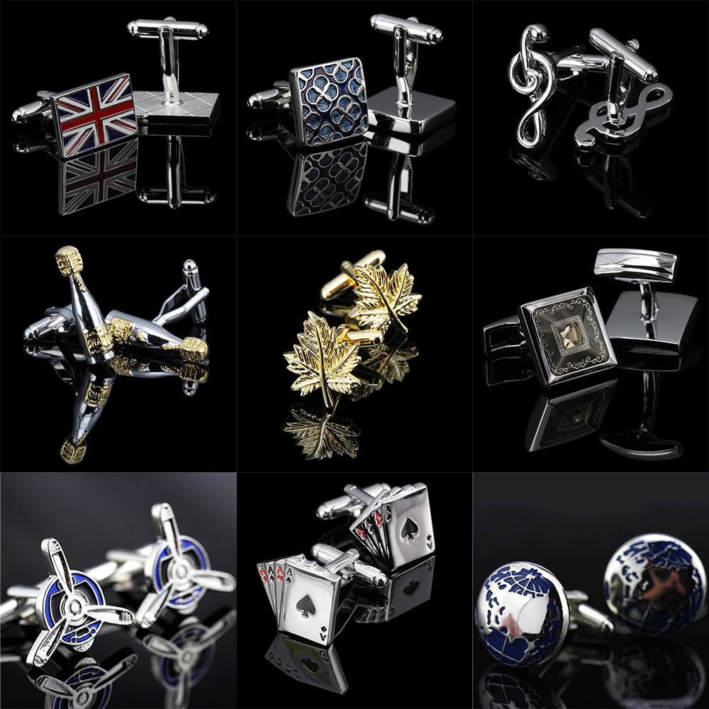Memolissa Trendy Upscale Men's Shirt Cufflinks 18 Style Flags / Champagne / Playing Cards / Maple Leaf / Bears Mens Cufflinks