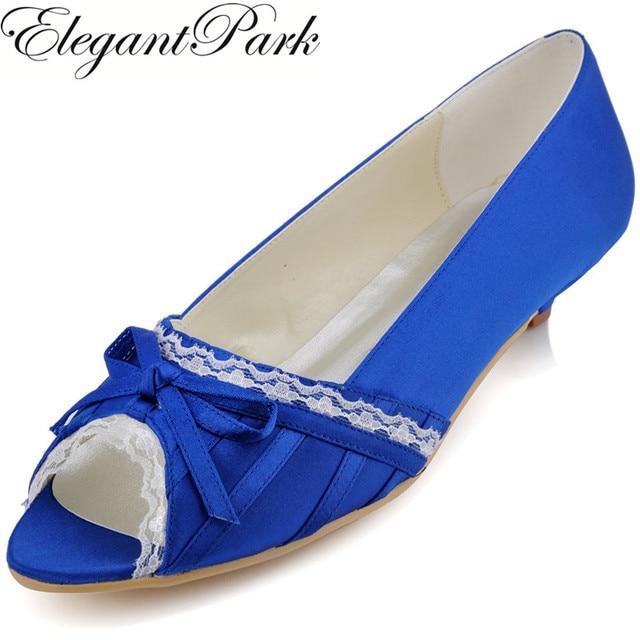 c85088918d3 Women s Shoes Blue Low Heel EL10009 Peep Toe Bow Lace Satin Comfortable  Wedding Bridal dress formal pumps white ivory pink