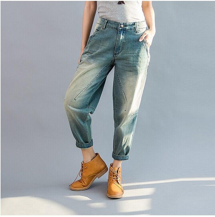 New 2019 Blue Cotton Mid Waist Denim Women Harem Pants Loose Casual Vintage Jeans Pants Harem