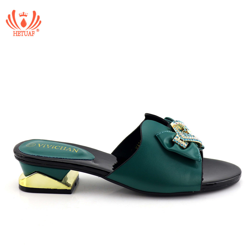 2019 New Arrival Dark Green Color Shoes Women African Women Wedding Slipper Women Italian Party Pumps Low Heels Sandals Party