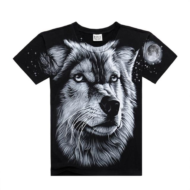 8287b3d9f0e8 Men T shirt 2016 Summer 3D Wolf Printed On Shoulder T shirt Casual Wear  Cotton Animal Men s T-shirt Famous Brand Big Size