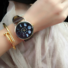 1PC Moon Phases Watch ladies males wrist watch Unisex Analog Spherical Dial Photo voltaic Eclipse Lunar Eclipse undefined Watch Leather-based X3